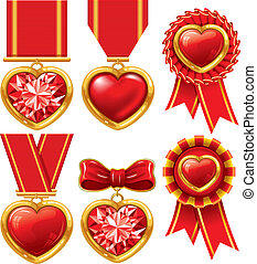 Medal heart - Collection of medals in the form of hearts