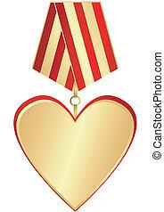 medal-heart, goud