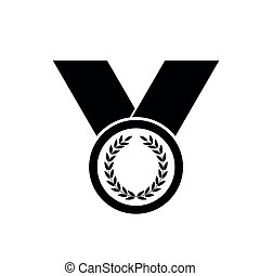 Medal icon - black vector