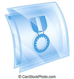 medal icon blue, isolated on white background.