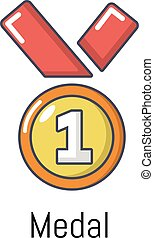 Medal icon, cartoon style - Medal icon. Cartoon illustration...