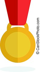 Medal icon in flat style. Medal vector set. Gold medal.