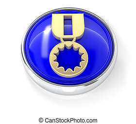 Medal icon on glossy blue round button