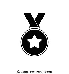 Medal icon vector black vector