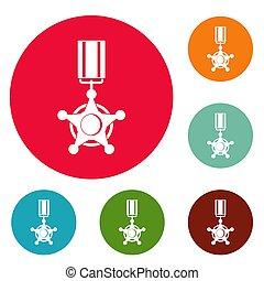 Medal icons circle set