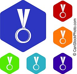 Medal icons set hexagon