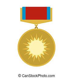 medal, ikona, dzielność, płaski