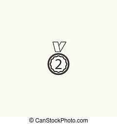 Medal line icon vector.