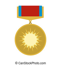 Medal of valor flat icon isolated on white background