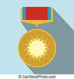 Medal of valor flat icon with shadow for web and mobile...