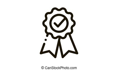 Medal Order With Ribbon Approved Mark animated black icon on white background