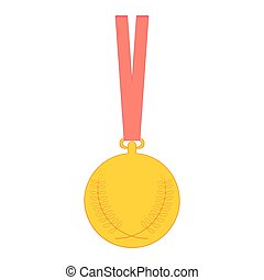 medal., oro, isolato, fondo., vettore, bianco, medaglia, icona