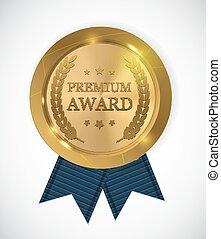 medal., prêmio, ouro, ilustração, vetorial, distinção