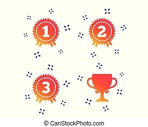 medal., premier, troisième, icons., seconde, vecteur, endroit, récompense