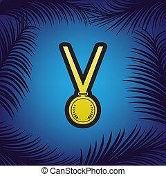 medal, prosty, poznaczcie., vector., złoty, ikona, z,...