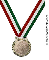 Medal (red green) - Shiny gold medal hanging from a green,...