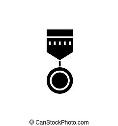 medal round icon, vector illustration, black sign on isolated background