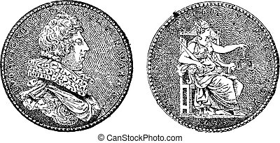Medal Showing King Louis XIII of France, by Guillaume Dupre, vintage engraved illustration. Dictionary of Words and Things - Larive and Fleury - 1895