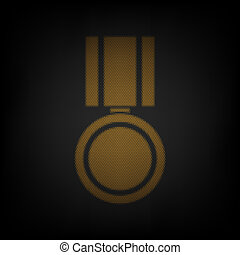 Medal sign illustration. Icon as grid of small orange light bulb in darkness. Illustration.
