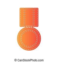 Medal sign illustration. Orange applique isolated.