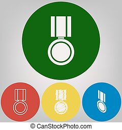 Medal sign illustration. Vector. 4 white styles of icon at 4 colored circles on light gray background.