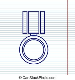 Medal sign illustration. Vector. Navy line icon on notebook paper as background with red line for field.