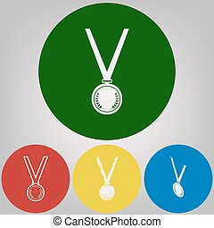 Medal simple sign. Vector. 4 white styles of icon at 4 colored circles on light gray background.