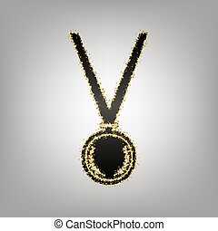 Medal simple sign. Vector. Blackish icon with golden stars...