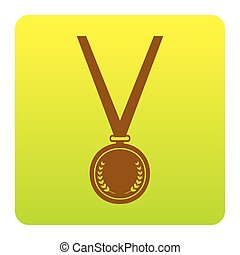 Medal simple sign. Vector. Brown icon at green-yellow gradient square with rounded corners on white background. Isolated.