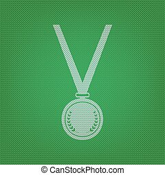 Medal simple sign. white icon on the green knitwear or woolen cloth texture.