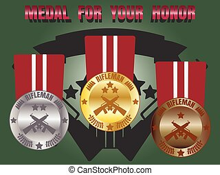 Medal skill honor rifleman set