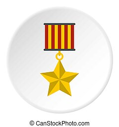 Medal star icon circle - Medal star icon in flat circle...