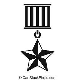 Medal star icon, simple style - Medal star icon. Simple...