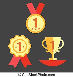Medal, Trophy, and Ribbon Award Icon Set - Medal with...
