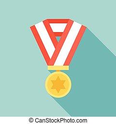 Medal vector icon, flat design