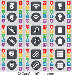 Medal, Wi-Fi, Light bulb, Microphone connector, Magnifying glass, Battery, Wallet, Clip, List icon symbol. A large set of flat, colored buttons for your design.