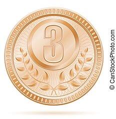 medal winner sport bronze stock vector illustration
