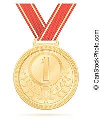 medal winner sport gold stock vector illustration