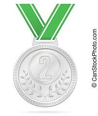 medal winner sport silver stock vector illustration