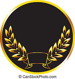 Medal with a golden laurel branch.