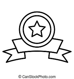 Medal with a star award line icon. vector illustration isolated on white. outline style design, designed for web and app. Eps 10