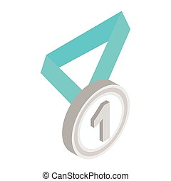 Medal with blue ribbon isometric 3d icon