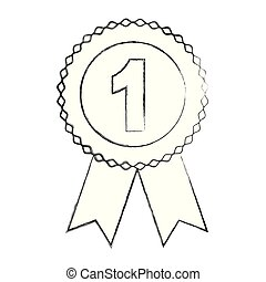 medal with number one isolated icon vector illustration