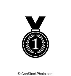 Medal with ribbon flat vector icons for sports apps websites