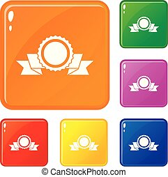 Medal with ribbon icons set vector color