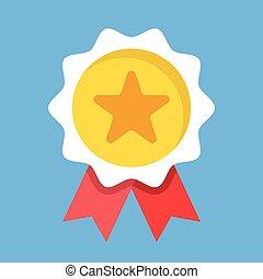 Medal with star and ribbons. Award