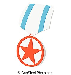 Medal with star cartoon icon
