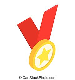 Medal with star on a red  ribbon isometric 3d icon