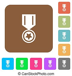 Medal with star rounded square flat icons