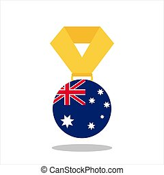 Medal with the Australia flag isolated on white background - vector illustration